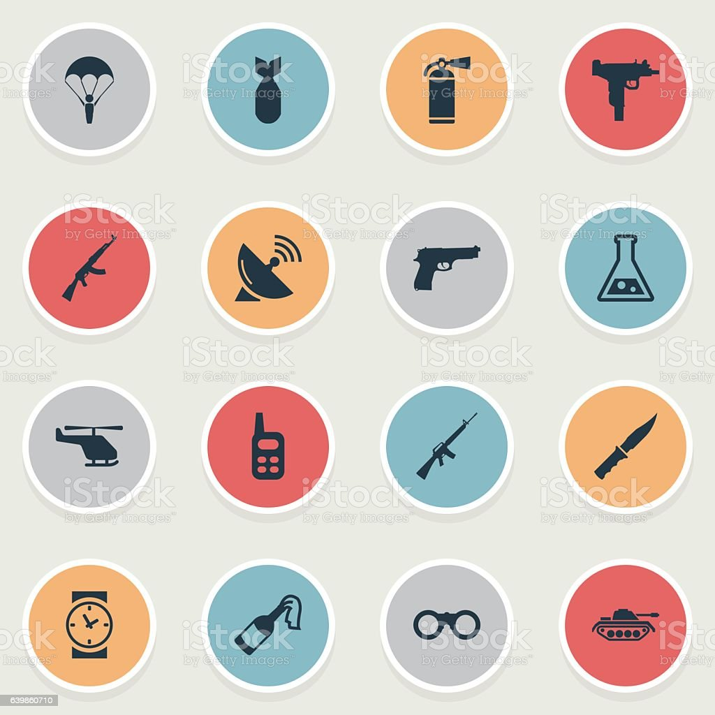 Set Of 16 Simple Military Icons. vector art illustration