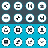 Set Of 16 Simple Social Media Icons.
