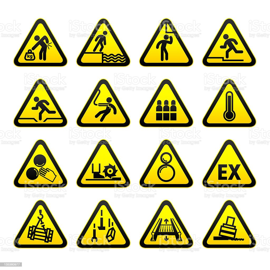 Set of 16 triangular hazard signs royalty-free stock vector art