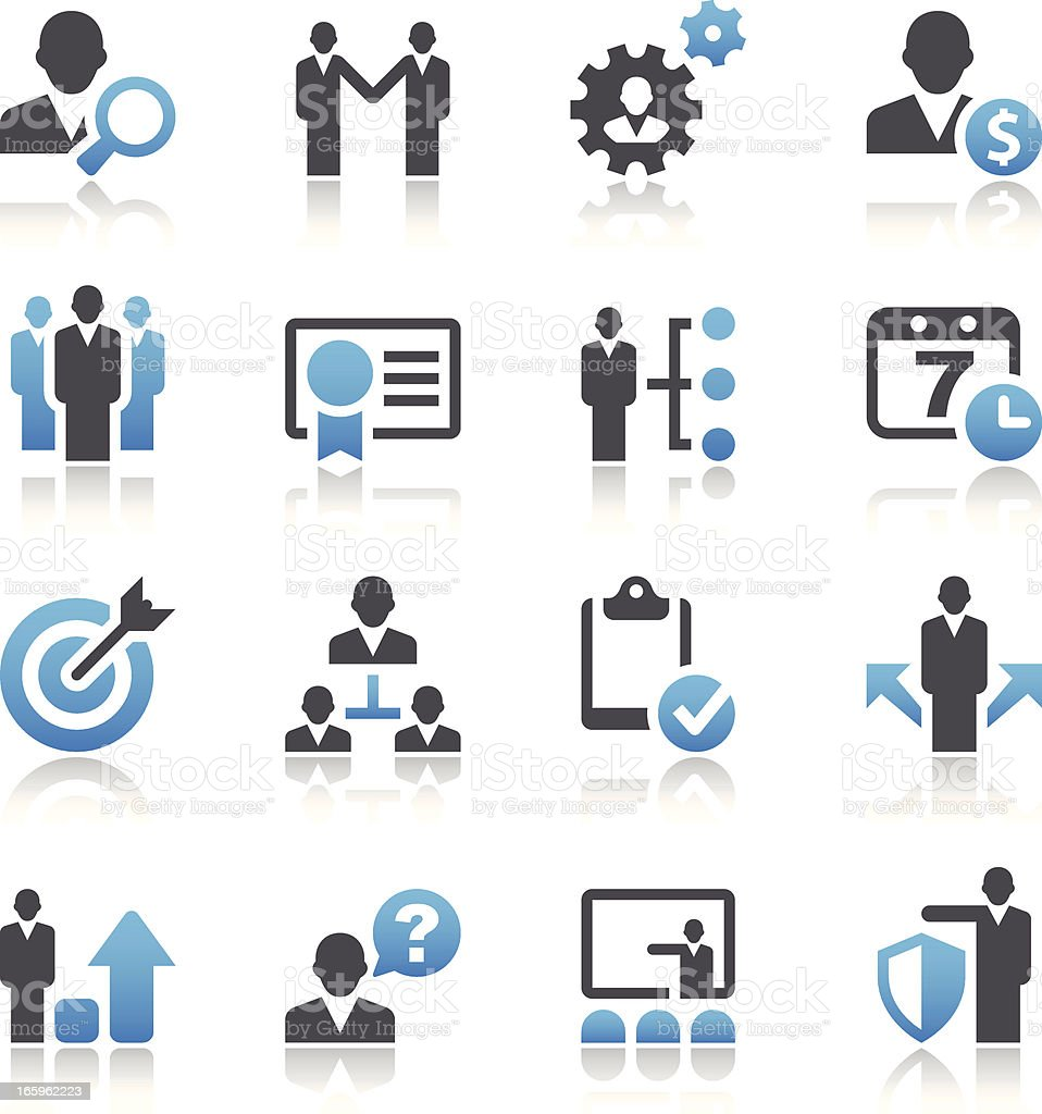 Set of 16 vector business and management icons vector art illustration