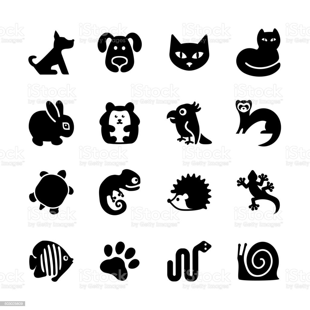 Set of 16 web icons. Pet shop, types of pets. vector art illustration