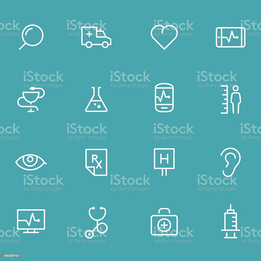 Set of 16 white medical icons with teal background vector art illustration