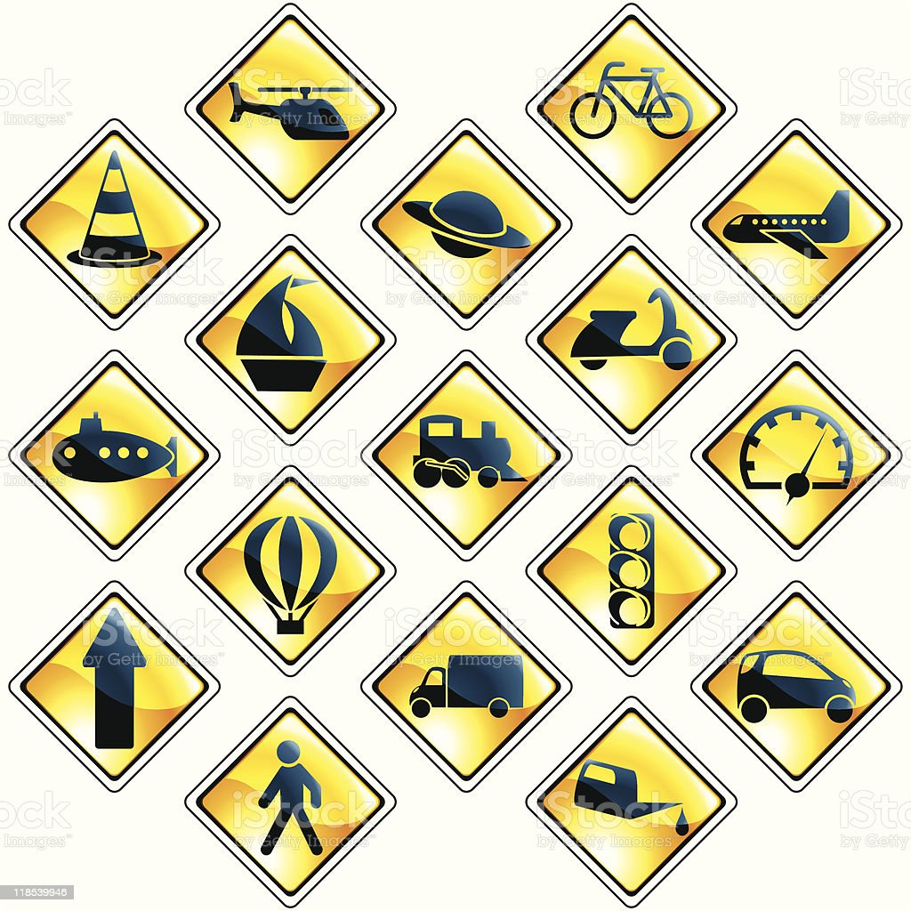 Set of 17 yellow traffic and transportation icons royalty-free stock vector art