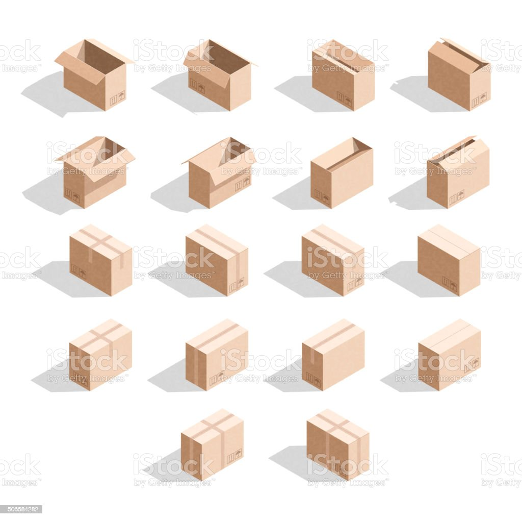 Set of 18 realistic isometric cardboard boxes with texture vector art illustration