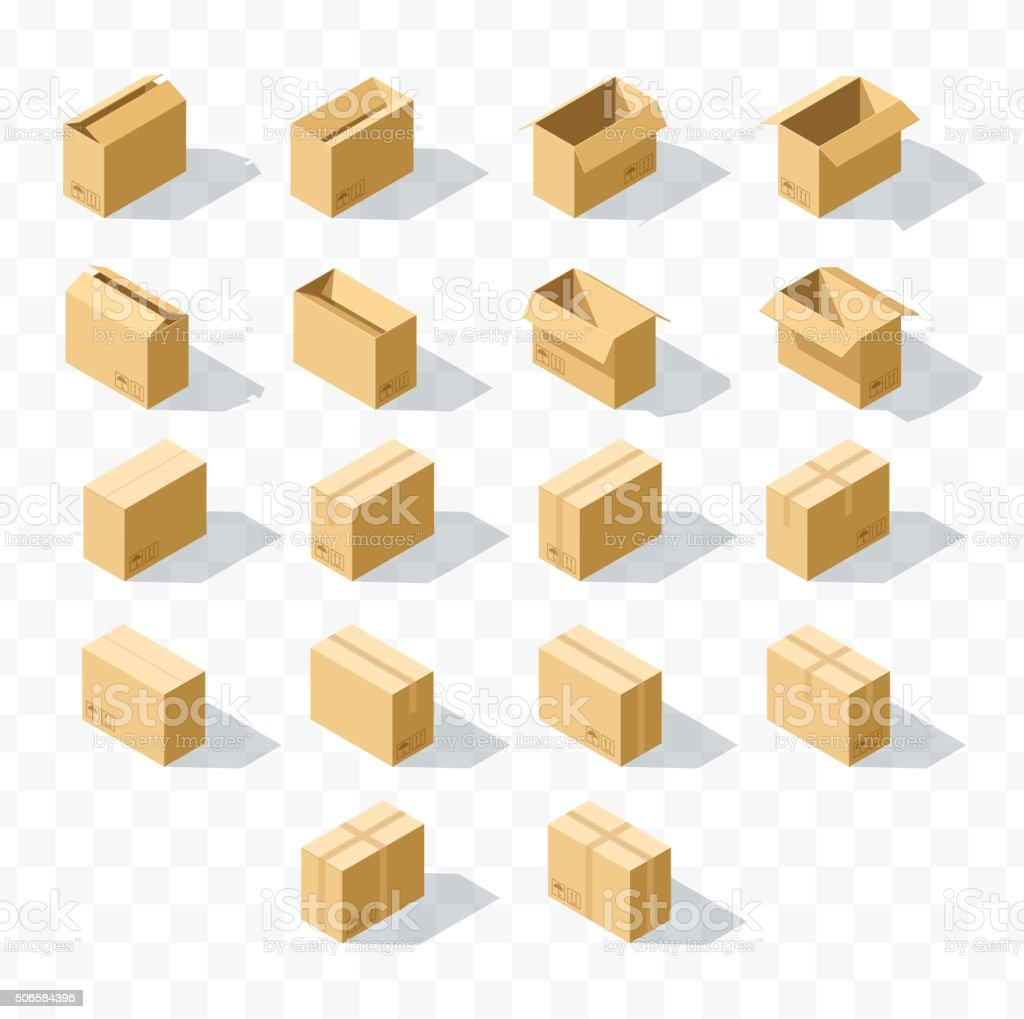 Set of 18 realistic isometric cardboard boxes with transparent shadow vector art illustration