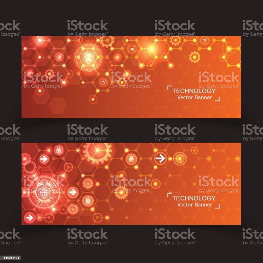 set of 2 banner technology innovation modern concept design. vector art illustration