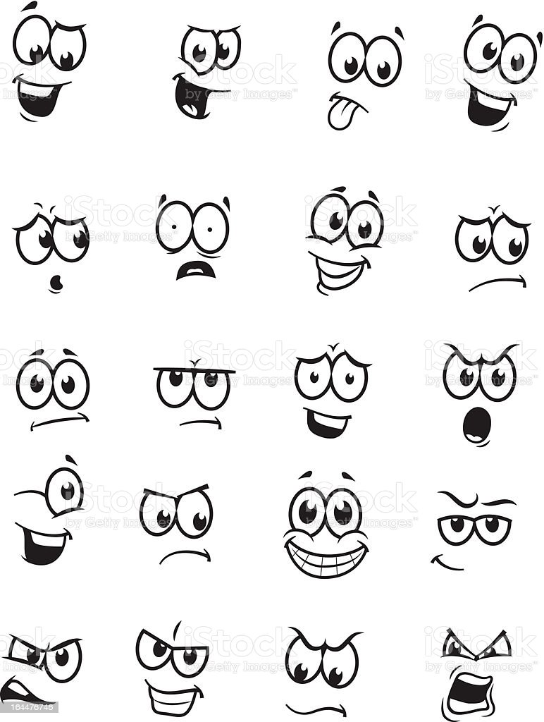 Set of 20 cartoon faces vector art illustration