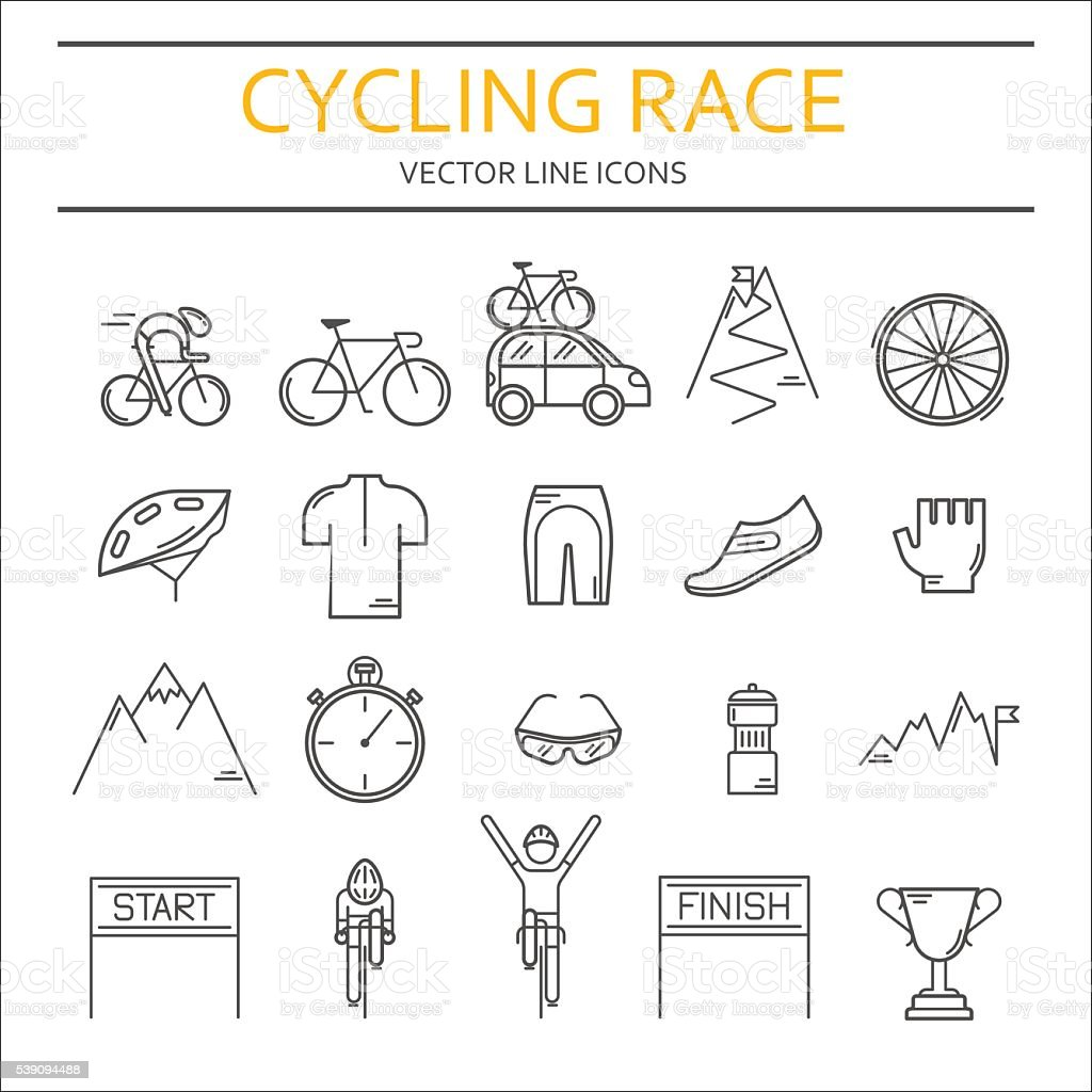 Set of 20 Cycling Race modern linear icons vector art illustration