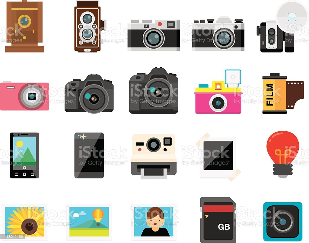 Set of 20 Flat Camera and Photography icons (Kalaful series) vector art illustration