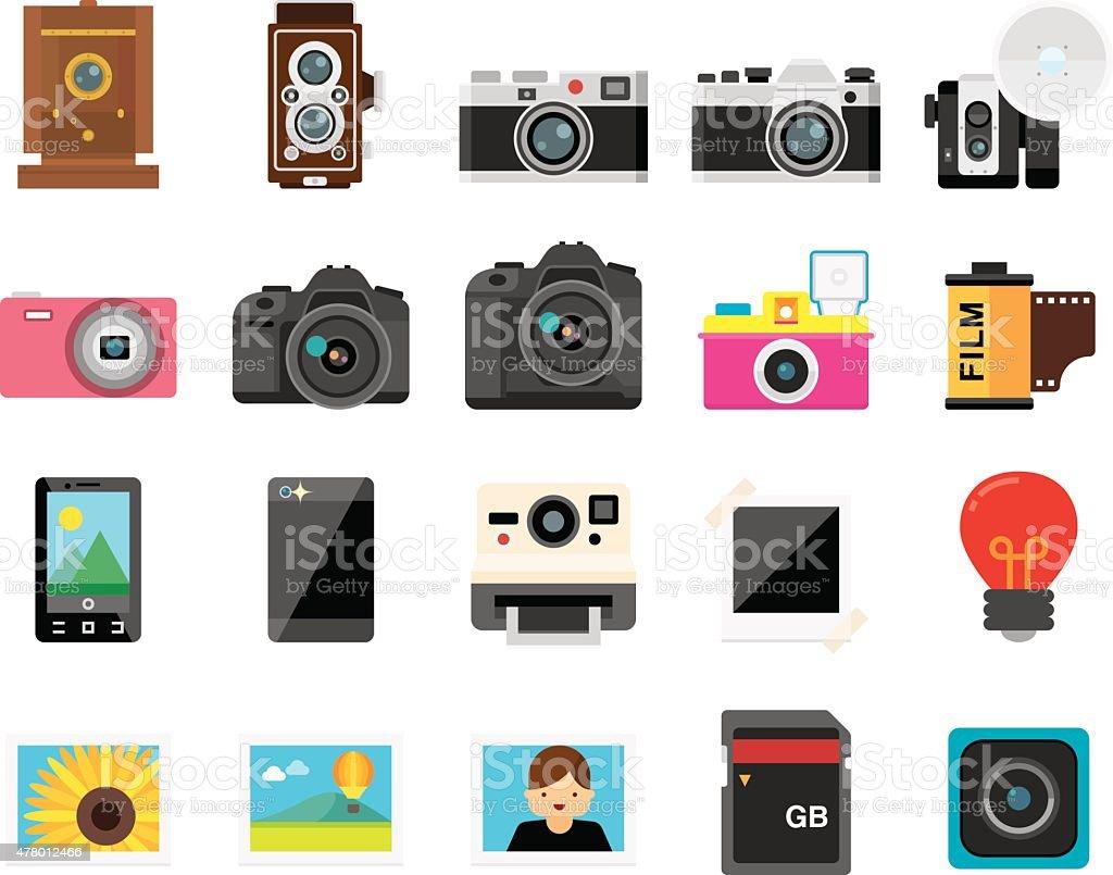 Set of 20 Flat Camera and Photography icons (Kalaful series) vector art illustration