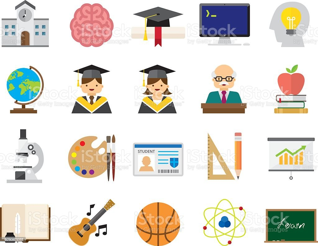 Set of 20 Flat Education icons (Kalaful series) vector art illustration