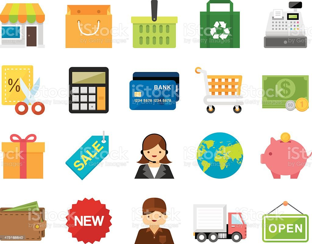 Set of 20 Flat Shopping and Retail icons (Kalaful series) vector art illustration
