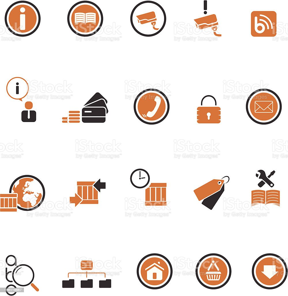 Set of 20 two colour icons for your web business! royalty-free stock vector art