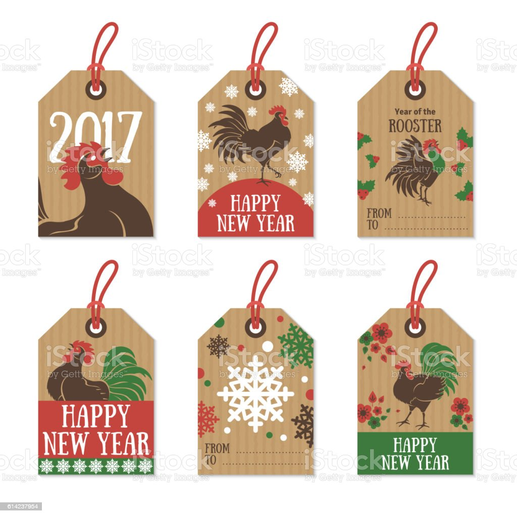 Set Of 2017 Chinese New Year Gift Tags stock vector art 614237954