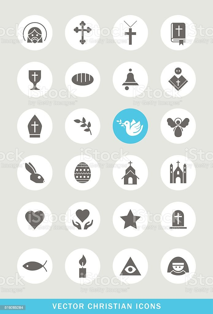 Set of 24 Universal Christian Icons. vector art illustration