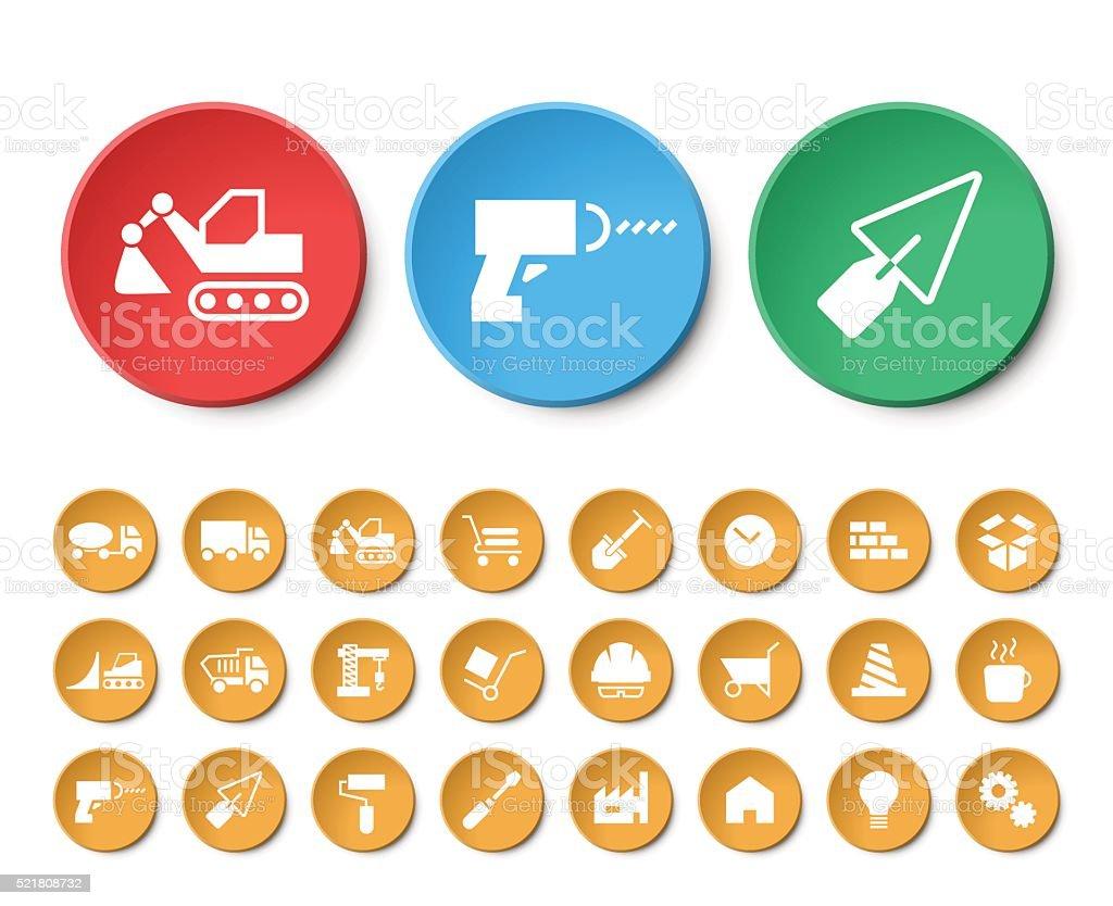 Set of 24 Universal Construction Icons. vector art illustration