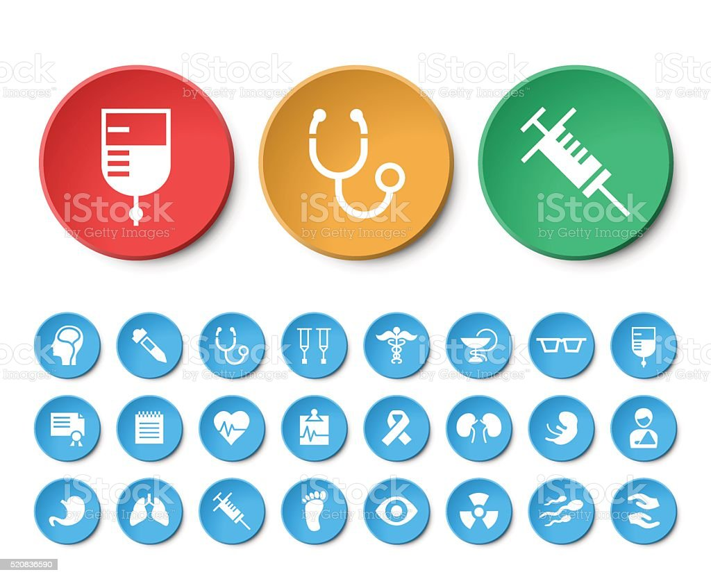 Set of 24 Universal Medical Icons on Circular Buttons. vector art illustration
