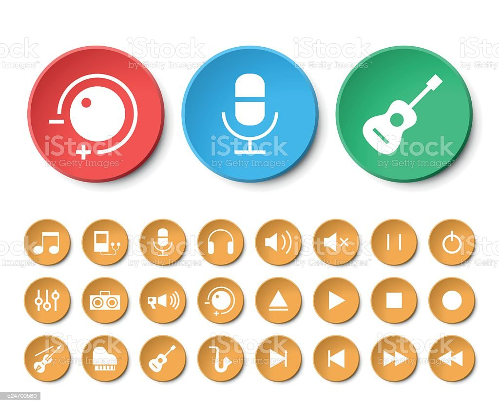 Set of 24 Universal Music Icons. vector art illustration