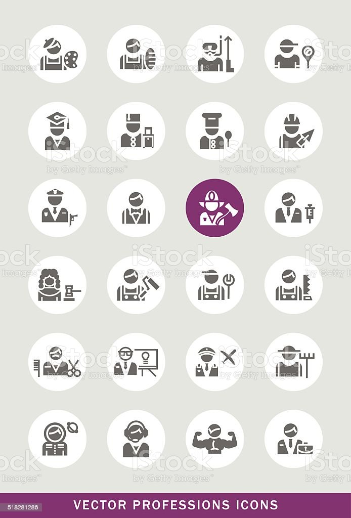 Set of 24 Universal Professions Icons. vector art illustration