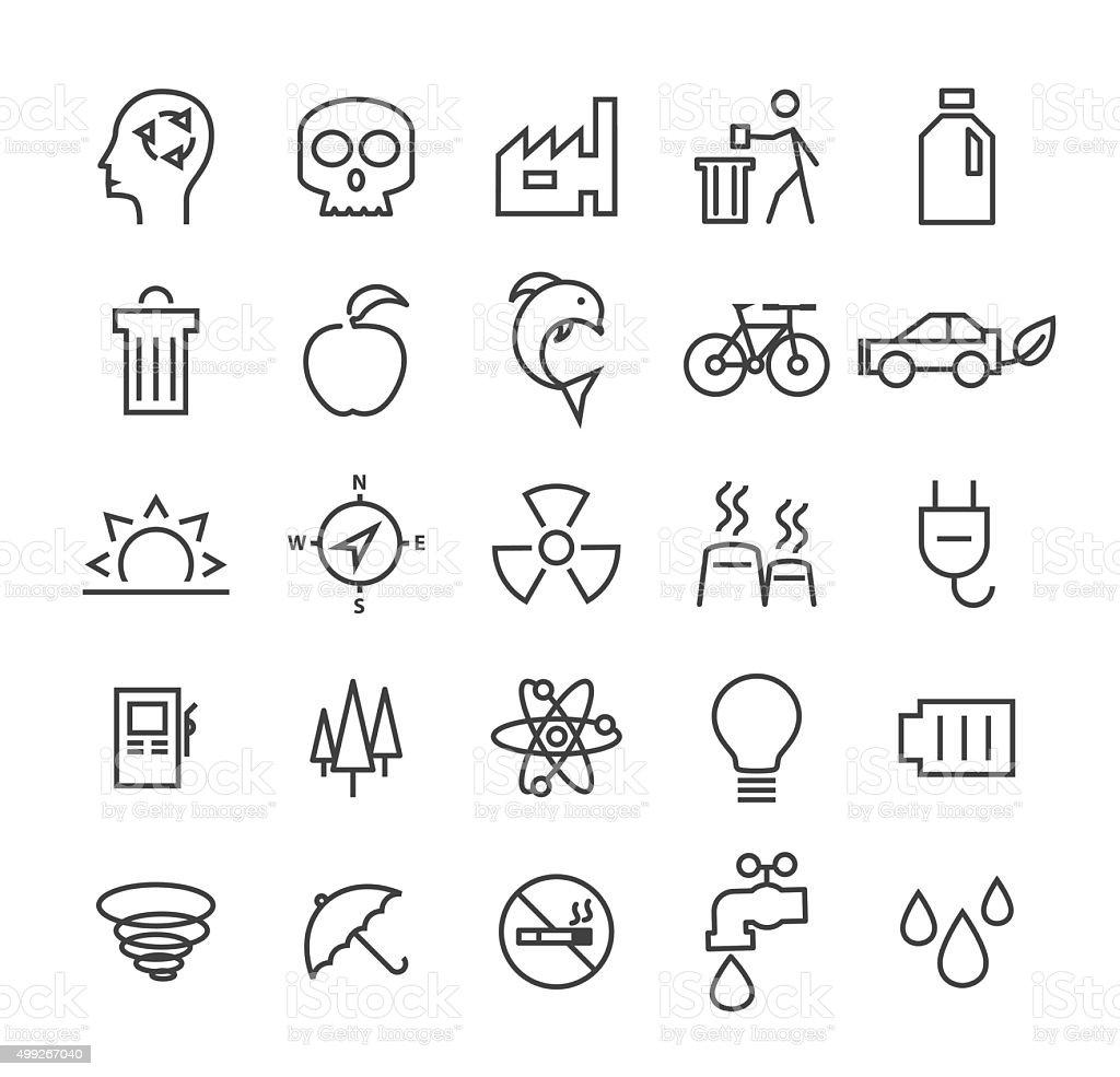 Set of 25 Ecology Icons. vector art illustration