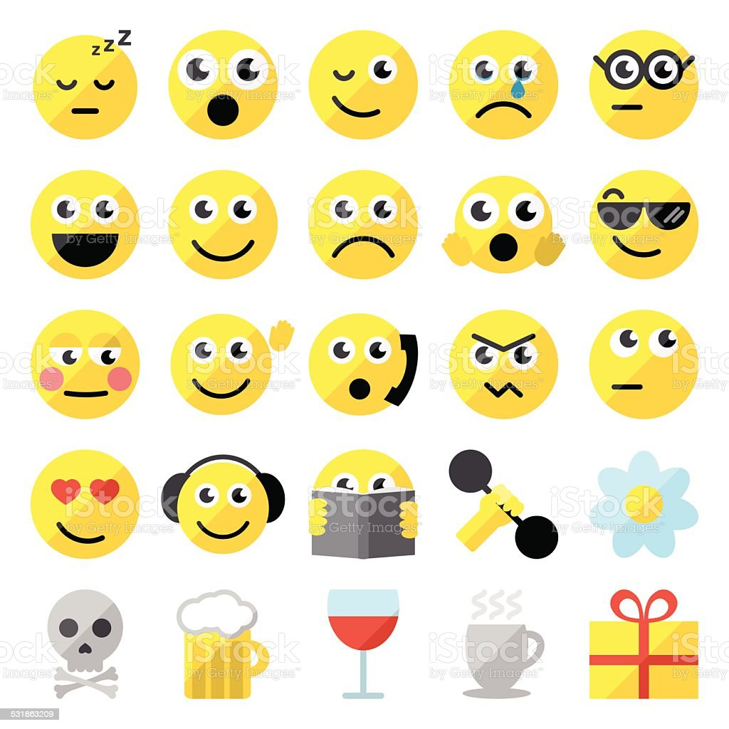Set of 25 emoticons vector art illustration