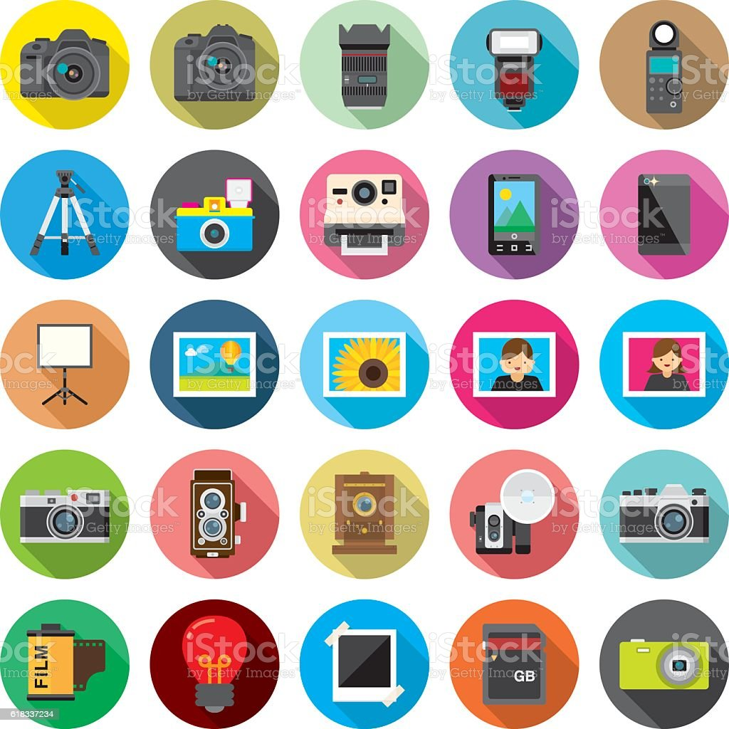 Set of 25 Flat Camera & Photography icons (Kalaful series) vector art illustration