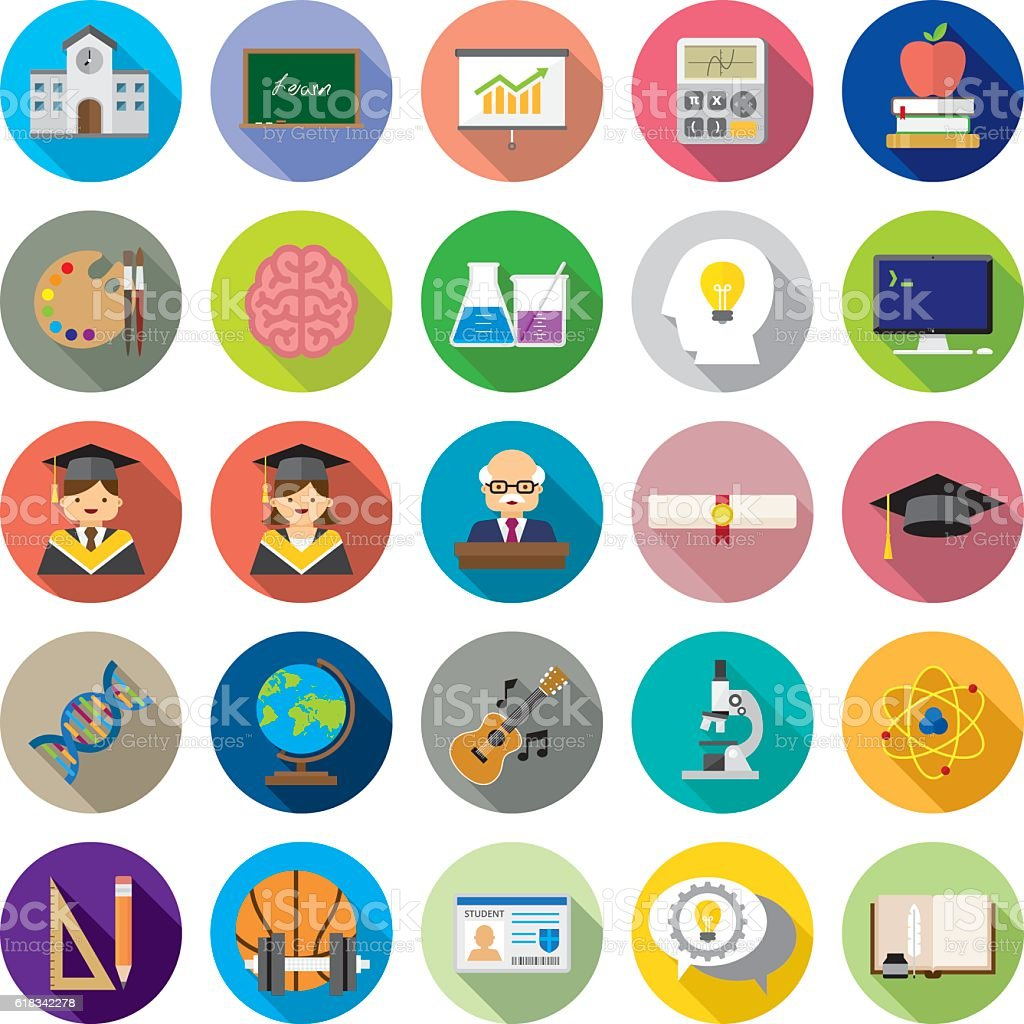 Set of 25 Flat Education icons (Kalaful series) vector art illustration