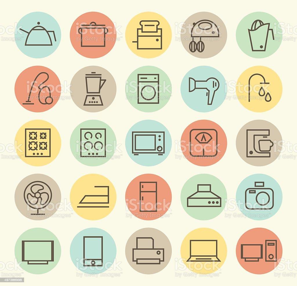 Set of 25 Home Appliances Icons. vector art illustration