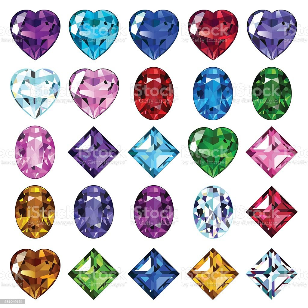 Set of 25 icons colored gemstones vector art illustration