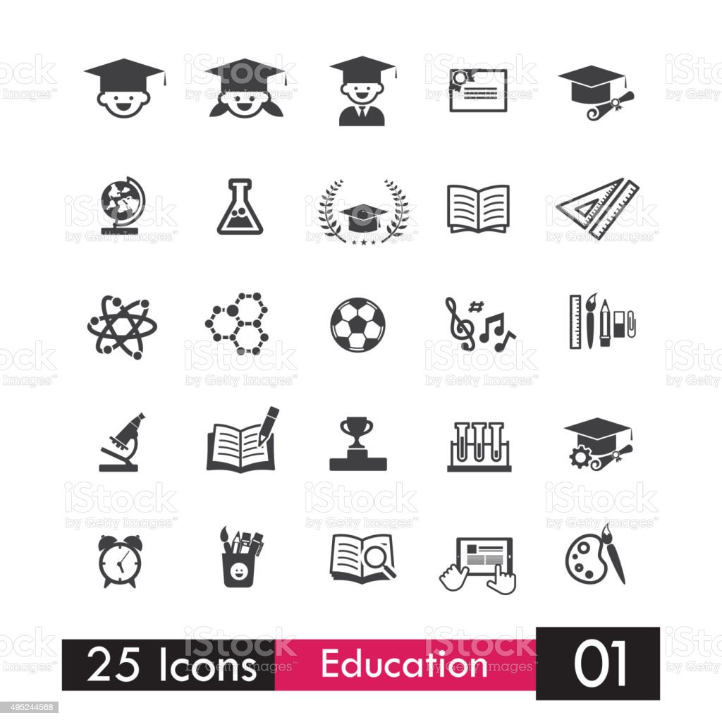 Set of 25 icons education and learning grey icon 001 vector art illustration