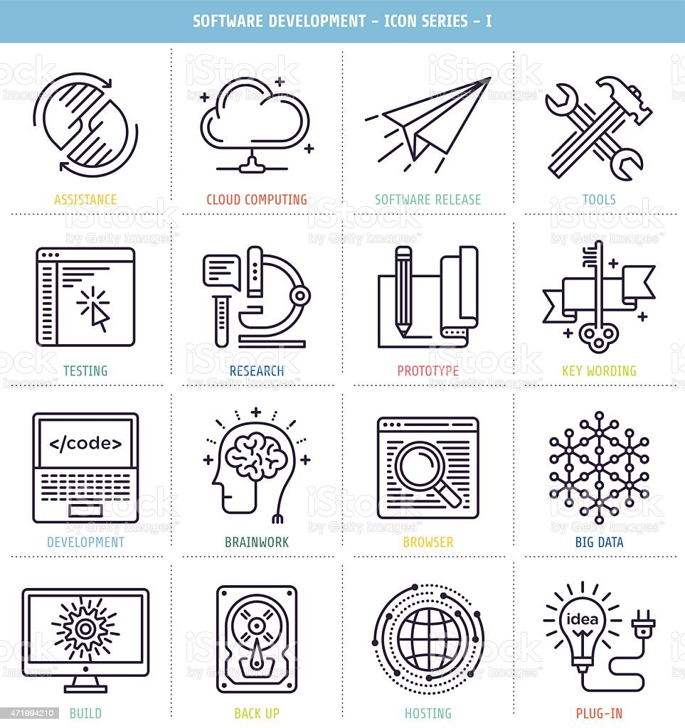 Set of 25 icons for software development vector art illustration
