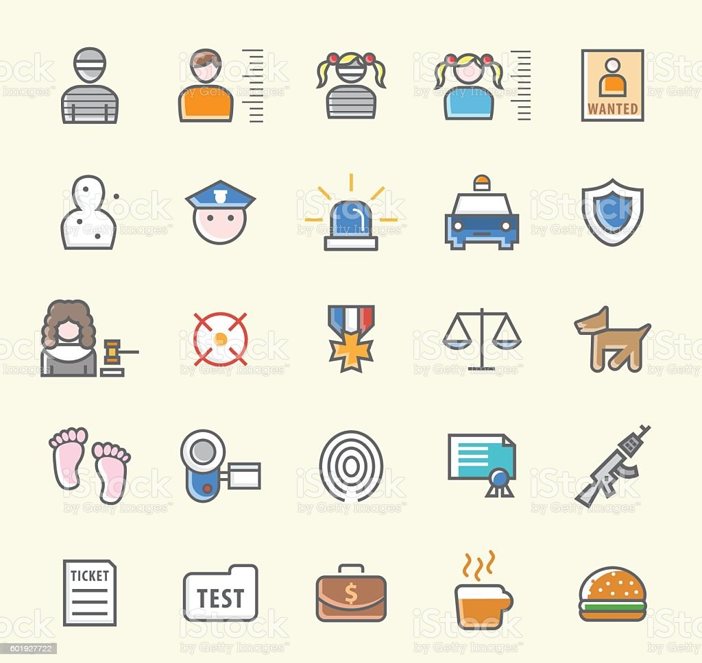 Set of 25 Minimalistic Solid Colored Police Icons. vector art illustration