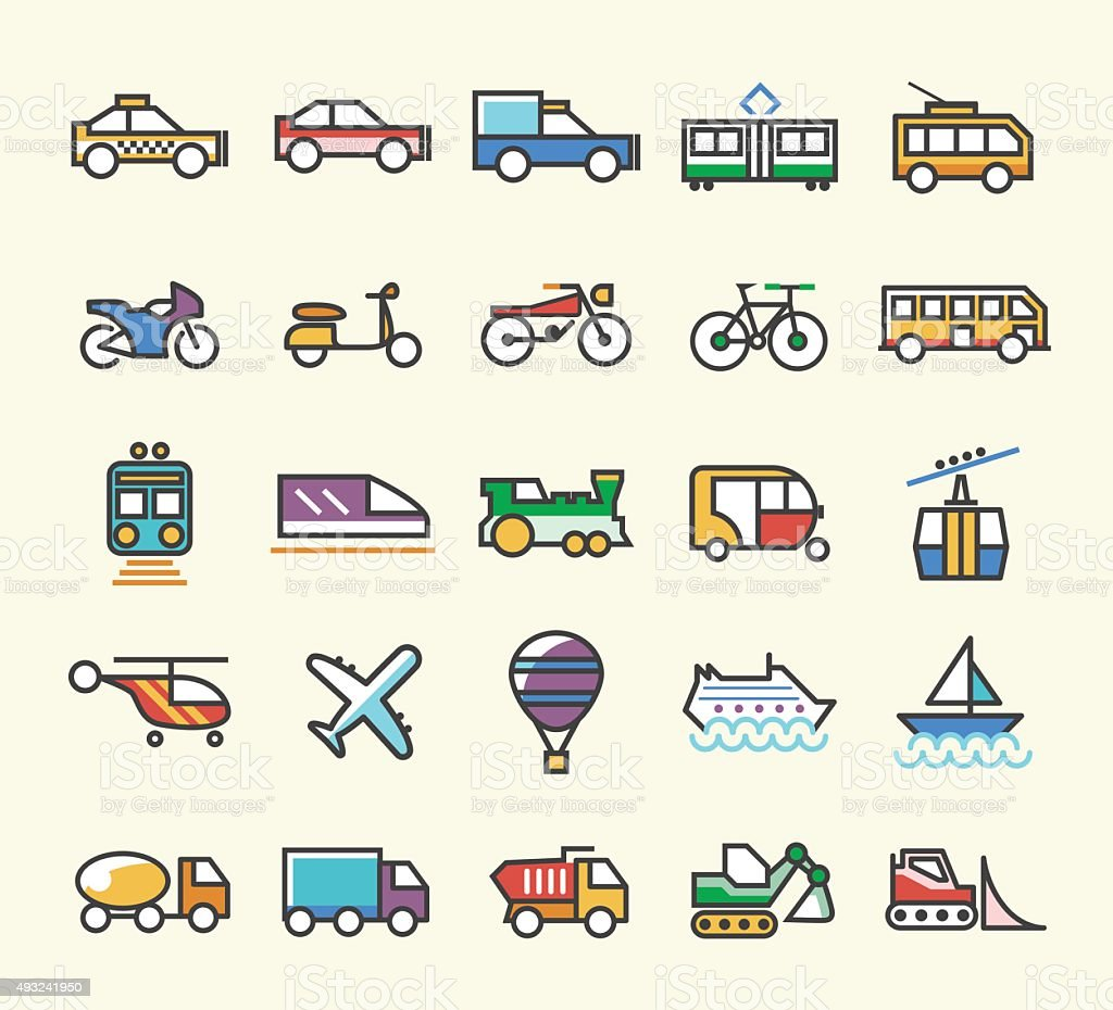 Set of 25 Minimalistic Solid Line Coloured Transport Icons. vector art illustration