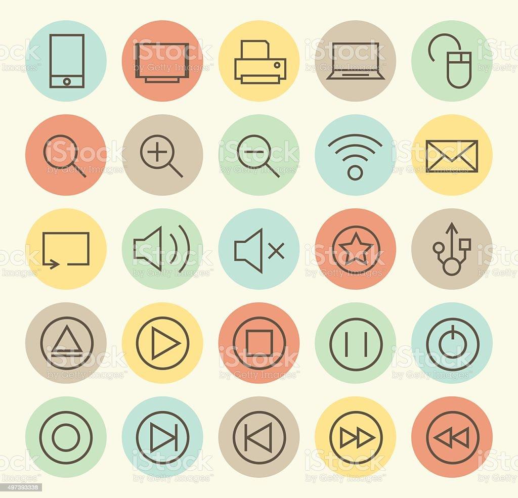 Set of 25 Multimedia Icons. vector art illustration