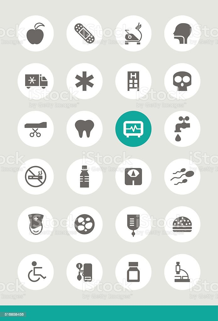 Set of 25 Universal Medical Icons. vector art illustration