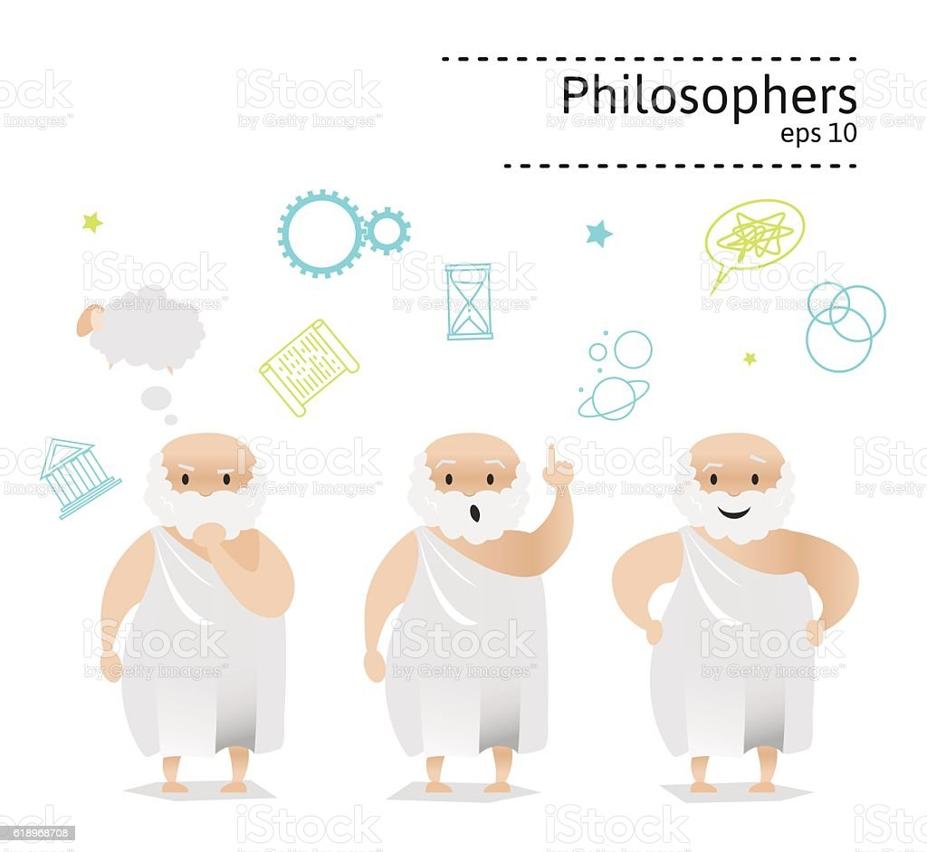 Set of 3 ancient greek philosopher vector art illustration