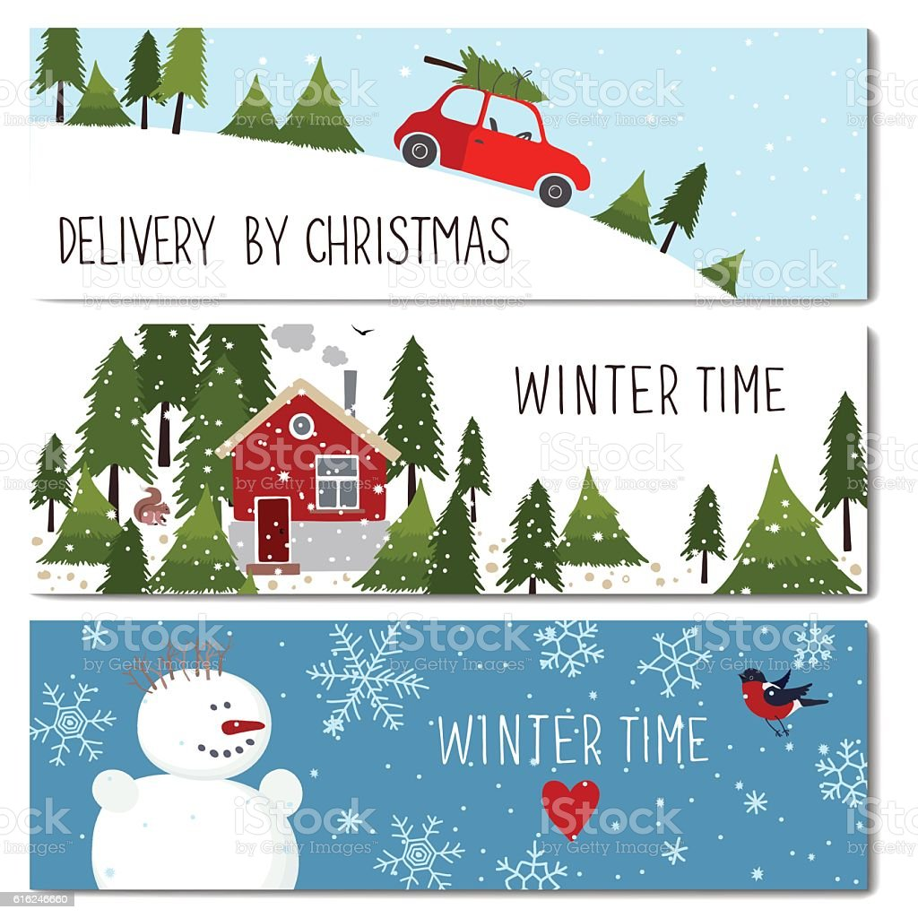 Set of 3 lovely winter cards templates. vector art illustration