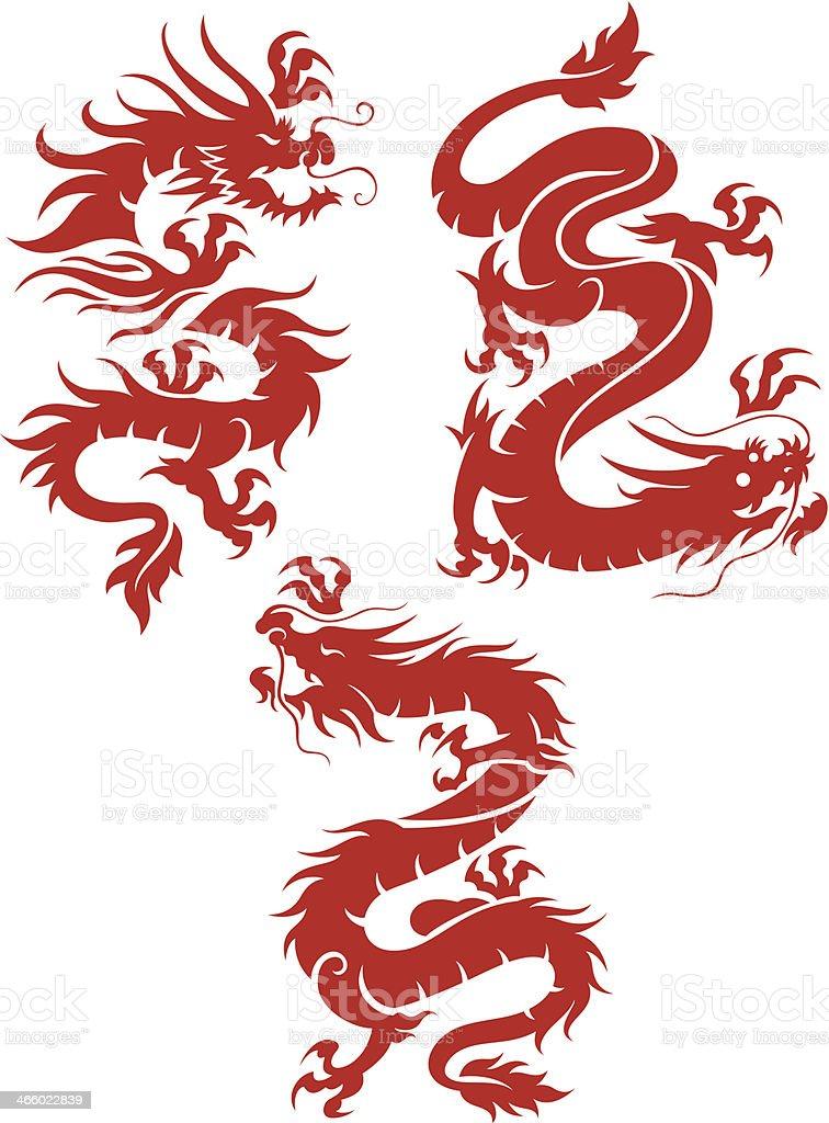 Set of 3 red dragons vector art illustration