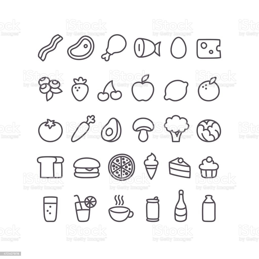 Set of 30 simple food icons in black and white vector art illustration