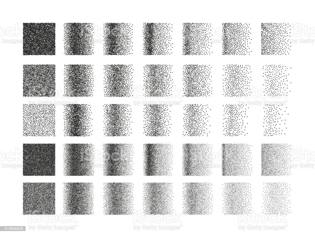 Set of 35 square stipple pattern for design. Tile spots vector art illustration