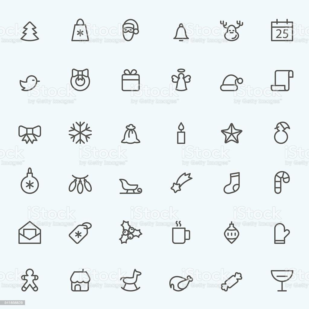 Set of 36 Christmas icons. vector art illustration