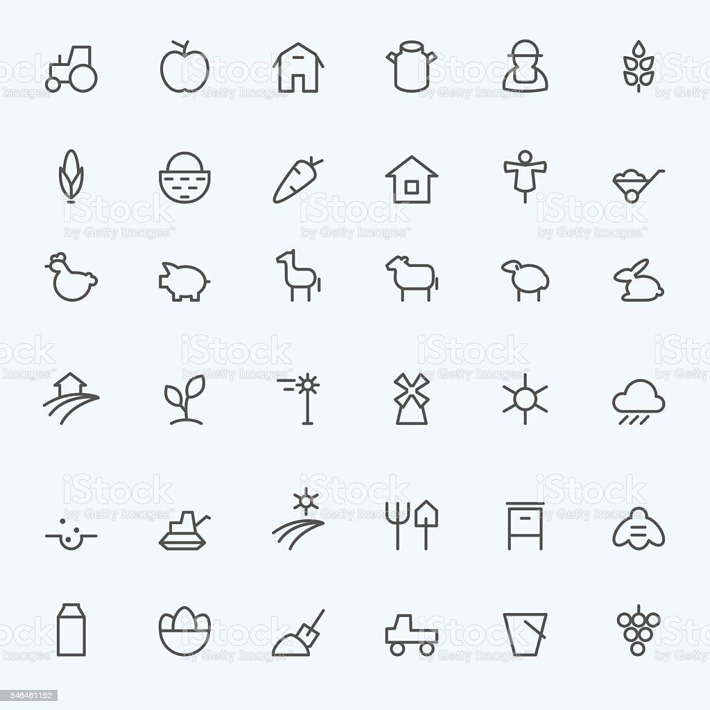 Set of 36 Farm icons. vector art illustration