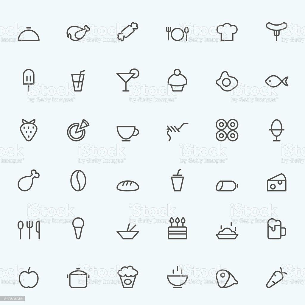 Set of 36 Food icons. vector art illustration