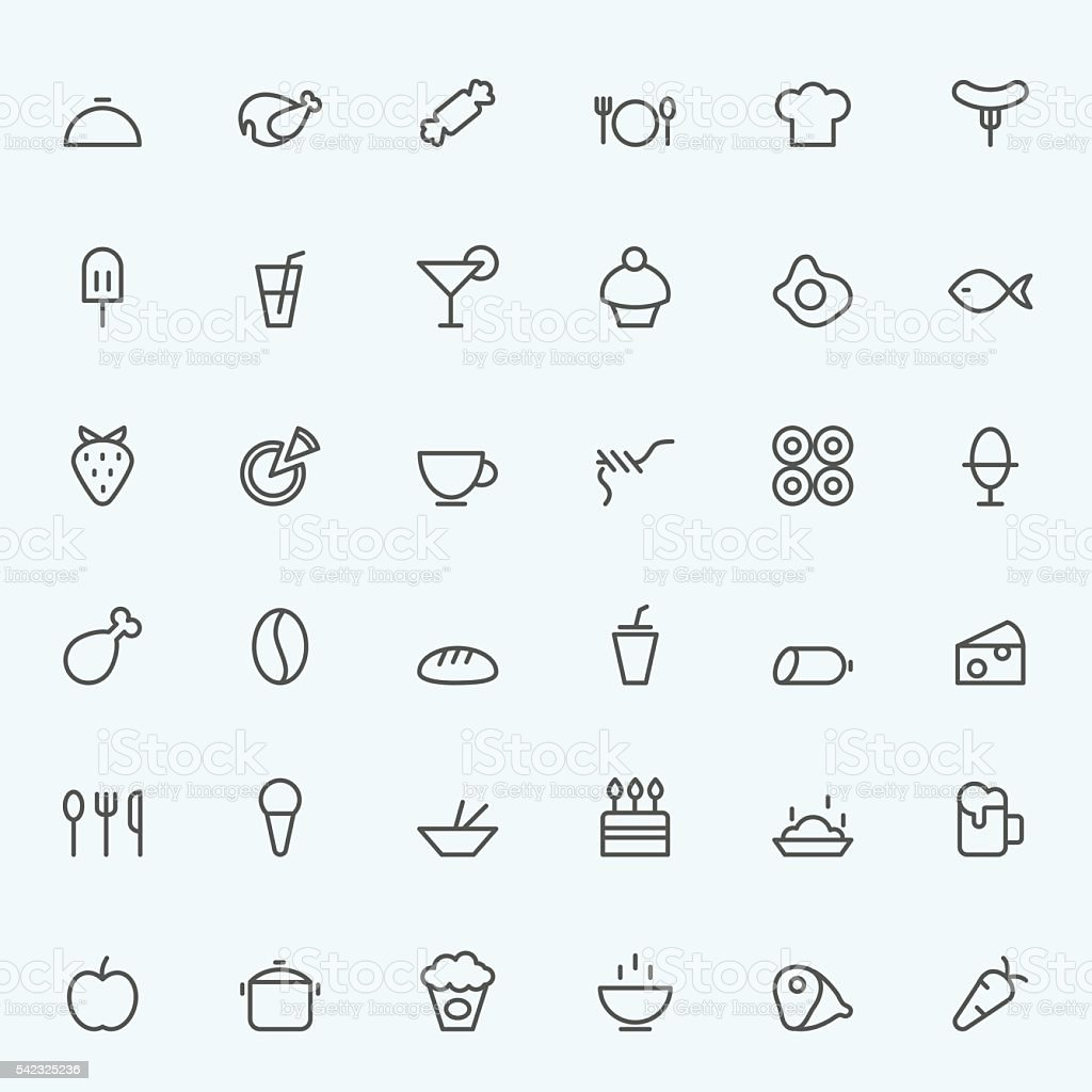 Set of 36 Food icons. vector art illustration