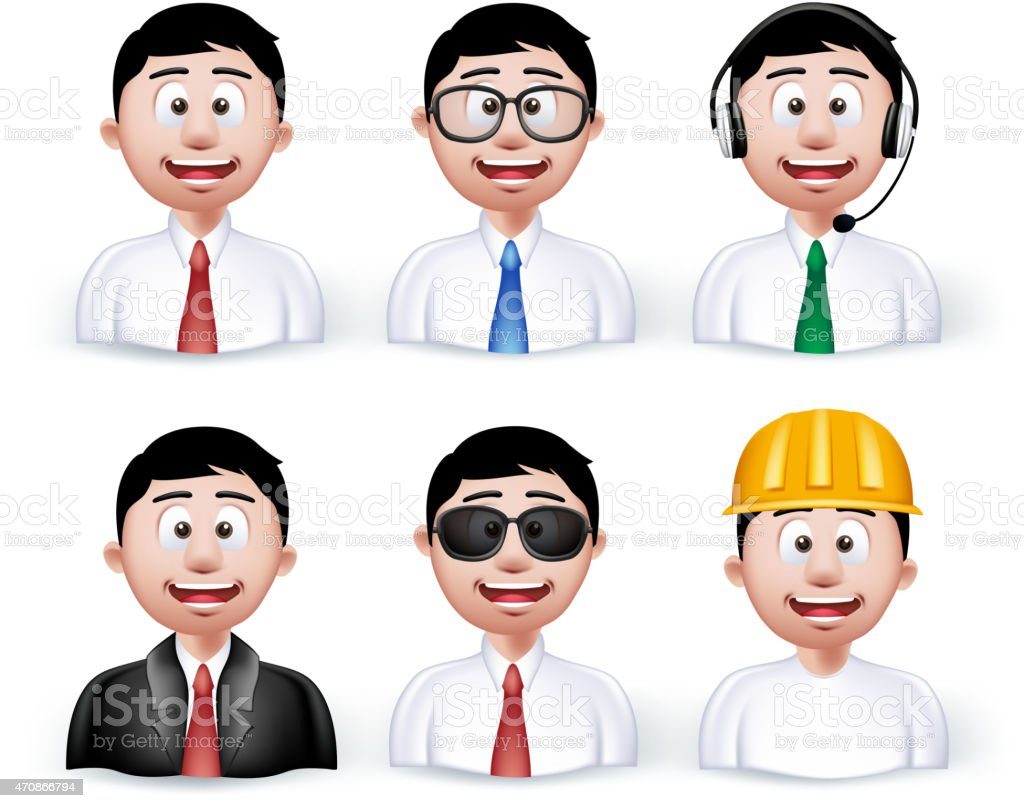 Set of 3D Dimension Young Different Professional vector art illustration