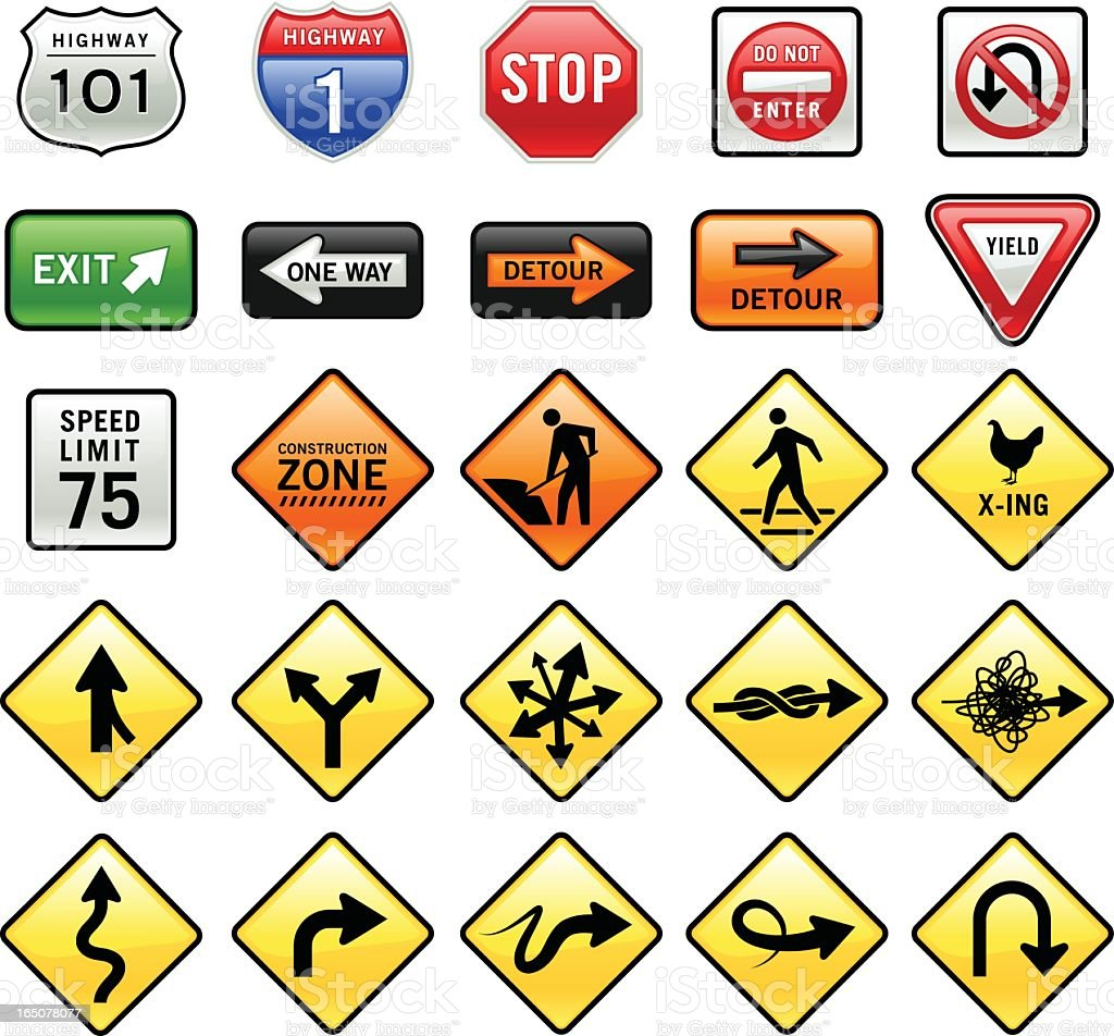 Set of 3D graphic road signs on white background vector art illustration