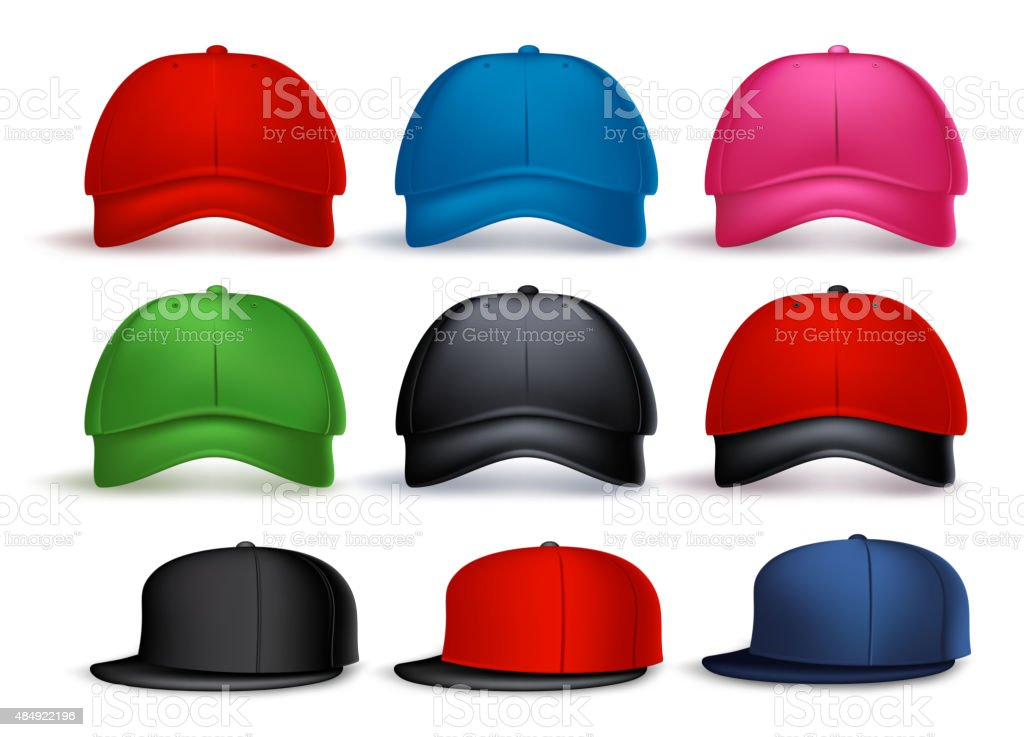 Set of 3D Realistic Baseball Cap for Man and Woman vector art illustration