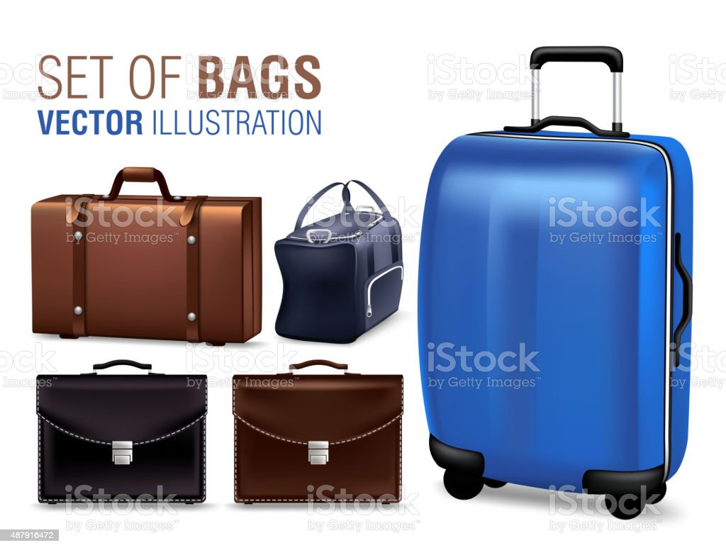 Set of 3D Realistic Traveling Bags and Briefcase vector art illustration