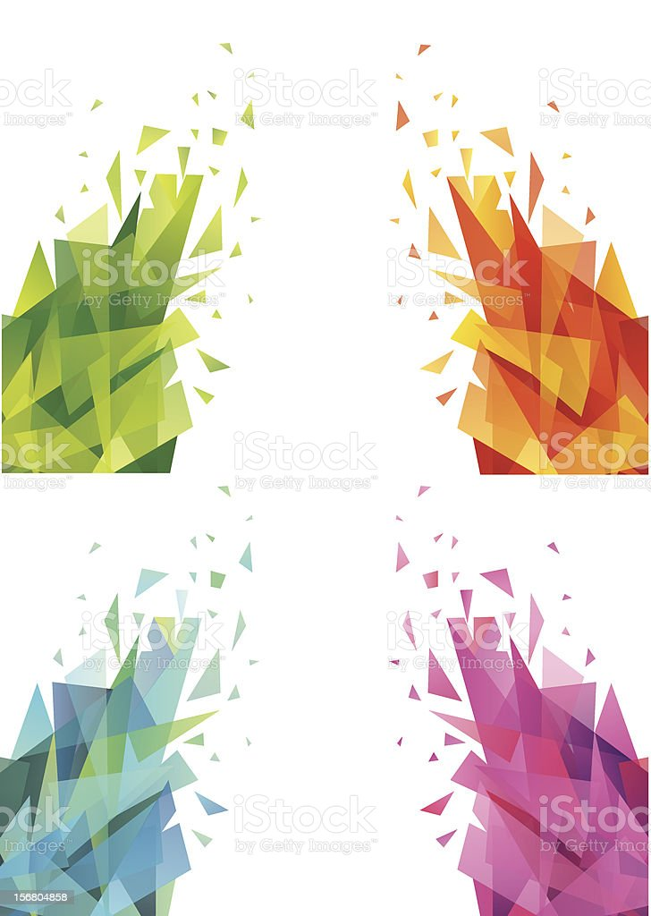 Set of 4 abstract triangles on white background royalty-free stock vector art