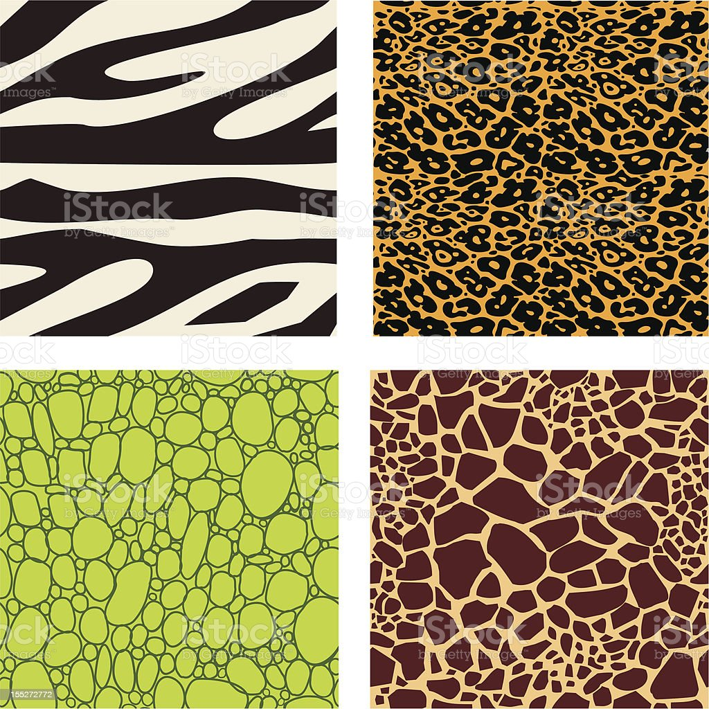 Set of 4 animal skin patterns vector art illustration